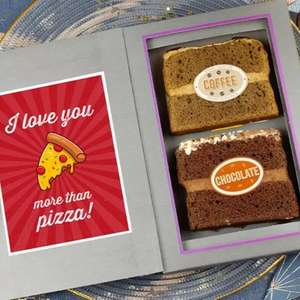 Celebration card with 2 slices of cake inc gluten free from a selection of your choice with free delivery £5.99 via Sponge.co.uk on Groupon