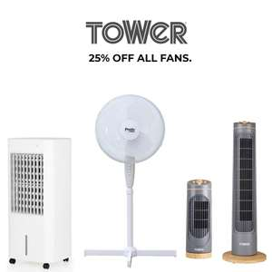 25% off all fans using discount code @ Tower