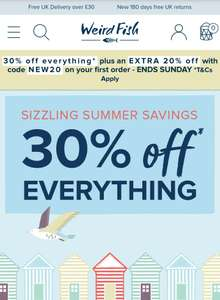 30% off everything and an extra 20% off first order with code @ Weird fish