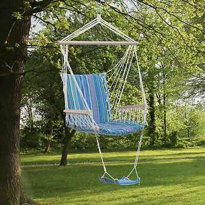 Striped Hanging Garden Chair with footrest £13.99 delivered (UK Mainland) at Outsunny/eBay