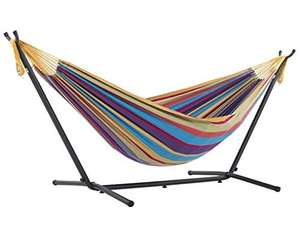 Vivere, Tropical Double Cotton Hammock with Space-Saving Steel Stand including carrying bag £73.35 @ Amazon