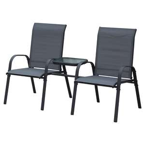 Outsunny Steel Frame Outdoor Garden Armchair Bench with Middle Table Black £62.99 delivered @ Aosom