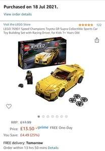 LEGO 76901 Speed Champions Toyota GR Supra £13.50 Amazon Prime (+£4.49 Non Prime)