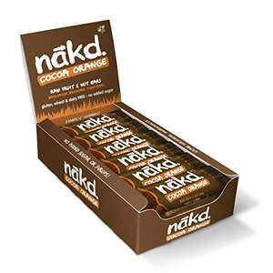Nakd Cocoa Orange Natural Snack Bars - Vegan Bars - Healthy Snack - Gluten Free Bars 35 g (Pack of 18) - £7.72 (+£4.49 Non-Prime) @ Amazon