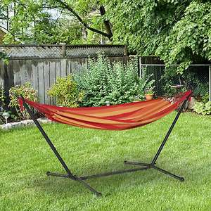 Outsunny 277 x 121cm Hammock with Metal Stand and Carrying Bag - £37.59 Delivered With Code (UK Mainland) @ OutSunny eBay