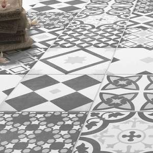 Vibe Grey Patterned Wall and Floor Tiles - 223 x 223mm (Free delivered for order over £299) @ Victoria Plumbing