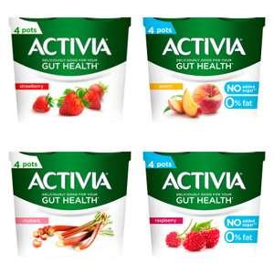 Activia Yogurt Strawberry / Rhubarb / Peach or Raspberry No added sugar (460g) - 4 pack for £1 @ Iceland