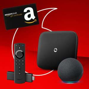 Vodafone Superfast 2 - 63Mbps Fibre Bband - £24pm - 24 mo(+£100 Giftcard + Fire TV Stick 4K + Echo Dot - Mobile Customers) £576 @ BB Choices