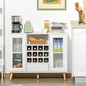 Modern Sideboard Cabinet [100cm x 80cm x 33cm] - With Wine Rack, Cupboards & Drawer - £59.99 Using code (UK Mainland) @ eBay / 2011homcom