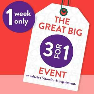 3 for 1 on selected Vitamins at Holland and Barret - £1.99 click and collect / £2.99 delivery - Free over £25