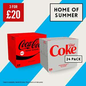 3 for £20 - Coke Zero/Diet Coke 24 x 330ml Can Boxes are 3 for £20 @ The Food Warehouse Iceland
