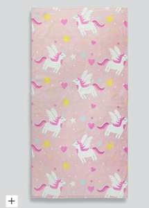 Kids 100% cotton beach towels / Unicorn, shark and jungle prints available £4.20 free click and collect @ Matalan