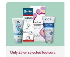 £5 on Selected Footcare Flexitol, Scholl, O,Keeffe's Cream, Palmer's - Buy1 get 2nd 1/2 price on selected +£1.50 Click and collect @ Boots