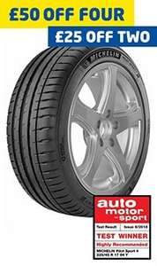 Michelin Pilot Sport 4 225/40/R18 2 Fitted Tyres for £156.76 or 4 for £313.52 with FREE Dash Cam worth £99.99 @ ATS Euromaster