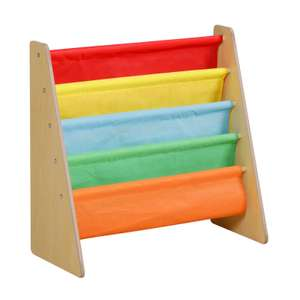 Wooden fabric sling bookshelf for kids room in four styles (pink, natural, multi-coloured & grey) for £16 delivered @ WeeklyDeals4Less