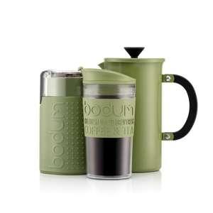 Bodum Tribute set (1L cafetière, travel mug & electric blade coffee grinder) in black, green or nude for £25.35 delivered using code @ Bodum