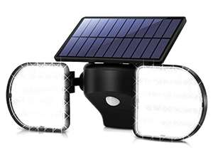 OUSFOT Solar Lights Outdoor 56 LED Solar Flood Lights Motion Sensor Twin Panel Security Light - £12.49 (+£4.49 NP) - ousfot / FBA