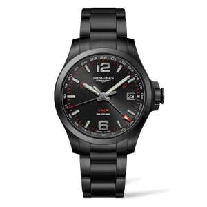 LONGINES VHP 41MM GMT PVD Black Conquest Watch £950 at Fraser Hart