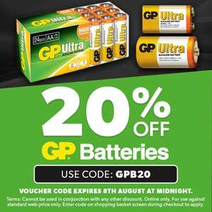 20% off GP Batteries with code @ CPC