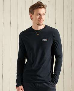 Superdry men's 100% organic cotton embroidered logo long sleeve t-shirt in black, navy, white or grey for £14.99 delivered @ eBay / Superdry