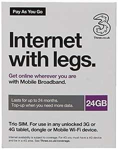 Three Mobile Pay As You Go Mobile Broadband 24 GB data SIM £39.48 @ Amazon
