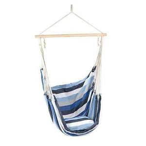 Hanging Hammock Swing Chair Outdoor Garden Rope Seat With Cushion - Blue or Purple £12.99 delivered @ tii-brands-devon / ebay