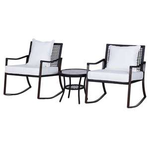 Outsunny 3 PCS Rocking Chair Bistro Set-Brown/Cream White £83.99 at Aosom (UK Mainland)