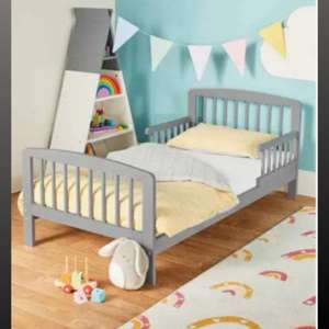 Mamia Grey Toddler Bed & Mattress £67.94 delivered @ ALDI