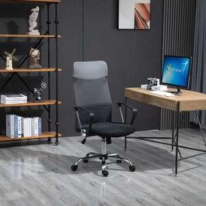 HOMCOM Executive Office Desk Chair High Back Mesh Chair Seat - Grey £45.51 @ Aosom - UK Mainland
