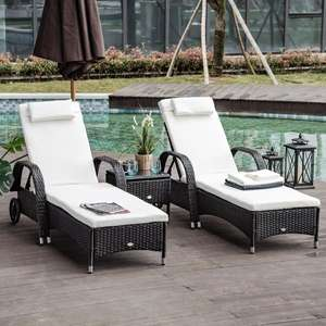Outsunny 2 Seater Rattan Sun Lounger Set with Side Table Black £243.59 with code (UK Mainland) Aosom