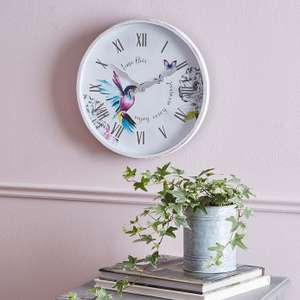 Hummingbird 31cm Wall Clock White now £4. with Free Click and collect From Dunelm