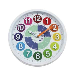 Children's Multi-Coloured Tell The Time Wall Clock now £7 (Various) with free click and collect from Dunelm