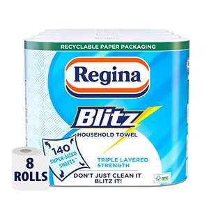 Regina Blitz Household Towel, 8 Rolls, 560 Super-Sized Sheets, Triple Layered Strength - £7.60 Prime / +£4.49 non Prime @ Amazon