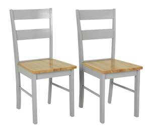 Habitat Chicago Pair of Solid Wood Dining Chairs (Grey & Oak / Grey / White) - £39.29 (+£6.95 delivery) @ Argos