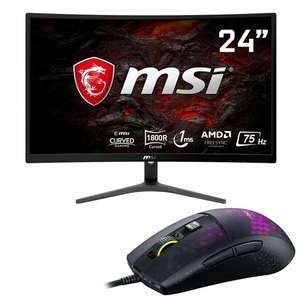 """MSI Optix G241VC 24"""" Curved Gaming Monitor - 1080p + Roccat Burst Pro Mouse £112.49 or MSI Clutch GM11 RGB Mouse £97.49 @ Home Essentials"""