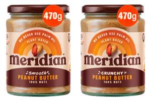 Meridian Peanut Butter 470g - Smooth or Crunchy - £2 each @ Asda