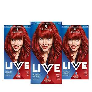 Schwarzkopf Live Colour Intense Hair Coloration, Permanent Red Hair Dye, 35 Real Red Shade, Pack of 3 £12.10 (+£4.49 non-prime) @ Amazon