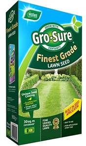 Gro-Sure Finest Grade Lawn Seed 30m², 900g - £5 (+£4.49 Non-Prime) @ Amazon