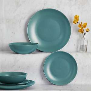Stoneware Teal 12 Piece Dinner Set - £14.00 (Free click and collect) @ Dunelm