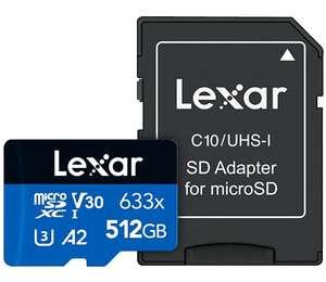 512GB - Lexar High-Performance 633x microSDXC UHS-I Card C10 V30 A2 U3 100/70MB/s - £48.01 delivered (Mainland UK) @ Amazon Germany