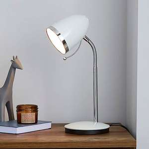 Tate White or black Chrome Desk Lamp now £8.40 with free click and collect from Dunelm