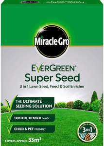 Miracle-Gro EverGreen Super Seed lawn Seed 33m2, 3-in-1 Lawn Seed, Feed & Soil Enricher 1kg for £3 @ Tesco