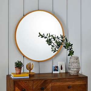 Dunelm Wooden Round Wall Mirror 71cm in natural colour for £20 click & collect @ Dunelm