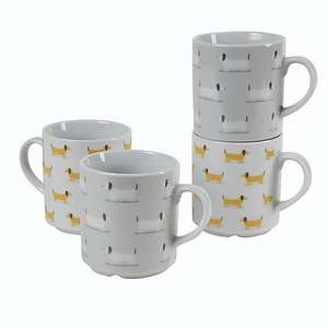 Bertie Sausage Dog set of 4 Stacking Mugs now £5.60 with free click and collect from Dunelm