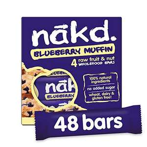 48x Nakd Blueberry Muffin/Carrot Cake/Peanut Delight/… Natural Vegan Snack Bars Gluten Free 35g £18 (+£4.49 non prime or free c&c) @ Amazon