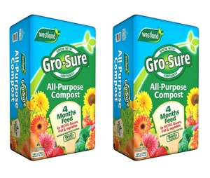 Gro-Sure All Purpose Compost with 4 Months Feed (120L) - 2 bags for £9.26 (free click & collect) @ Homebase