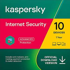 Kaspersky Internet Security 2021 | 10 Devices | 1 Year | Antivirus and Secure VPN Included Online Code £19.45 Sold by Amazon EU @ Amazon