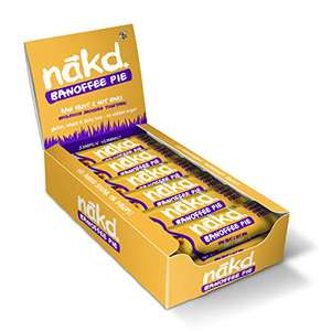 Nakd Banoffee Pie Natural Fruit & Nut Bars - Vegan - Gluten Free 35g (Pack of 18) £6.75 +£4.49 non prime (£6.41 or less S&S) @ Amazon