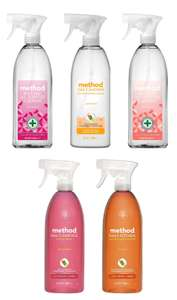 Method 828ml Cleaners - Antibacterial Wild Rhubarb / Peach Blossom, Daily Shower Passion Fruit, Kitchen Clementine - £1.90 (RollBack) @ Asda