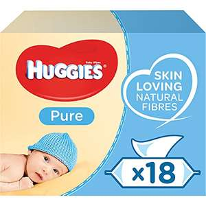Huggies Pure Baby Wipes Bulk - 99 Percent Water, Fragrance Free, 18 Packs x 56 wipes £12 Prime (+£4.49 non Prime)
